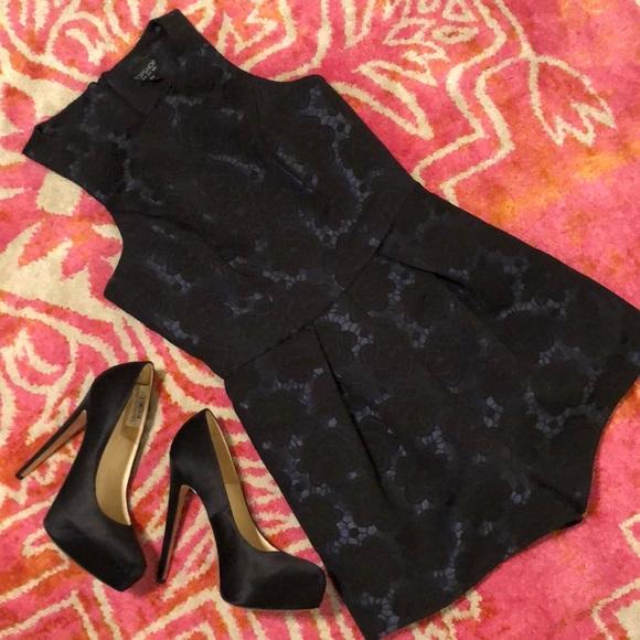 Topshop Pants - EUC Topshop Black Lace Pattern Jacquard Romper